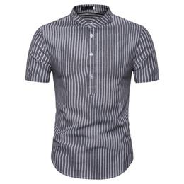 soporte de código Rebajas 2019 verano nueva camisa de los hombres código Europeo camisa soporte de moda de manga corta camisa de los hombres a rayas envío gratis