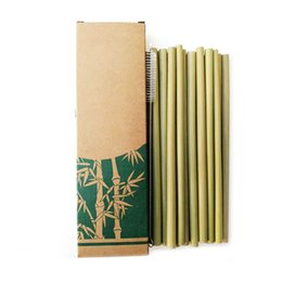 Bambù pulito online-Utili cannucce di bambù riutilizzabili cucina ecologica riutilizzabile del partito + spazzola pulita per trasporto di goccia all'ingrosso 50 pz / lotto