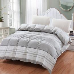 2019 cama a cuadros azul tamaño queen Estilo simple azul blanco gris Plaid Bedding Funda Nórdica 100% algodón doble King Queen Plaid tamaño para Nueva Moda Hogar doble cama a cuadros azul tamaño queen baratos