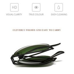 Rana grigia online-Nuovi uomini e donne pieghevole specchio rana moda retrò guida occhiali da sole 3479 pellicola a colori verde scuro nero occhiali da sole grigio