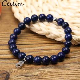 2019 perles d'acier inoxydable 8mm Bracelet à la main Mens perle oeil perle de mode 8mm Turquoise mat Pierre perle charme Bracelet avec charme en acier inoxydable 8 charme pour les femmes perles d'acier inoxydable 8mm pas cher