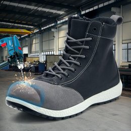 footwear construction Coupons - LARNMERN Mens Safety Boots Work Shoes Steel Toe Working Safety Shoes Protection Boots Construction Ankle Security Footwear