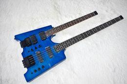 Guitarra elétrica azul chama on-line-Fábrica Custom Double Neck Azul Baixo Elétrico e Guitarra sem Headstock, 4 + 6 Cordas, Chama Maple Folheado, pode ser Personalizado