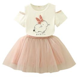INS heißer Verkauf Sommer Infant Kids Bunny Top + Grau Perle Rock Set Princess Sleeveless Hochwertige Kleider von Fabrikanten