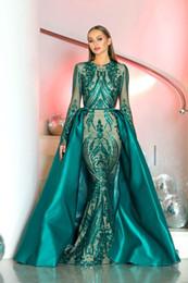 Luxuoso 2019 Lindo Jewel Sereia Vestidos de noite Lantejoulas Destacável Trem Vestido de noite Pageant Vestidos Custom Made Vestidos de noite de