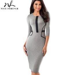 d453c8f62e66 Nice-forever Vintage Brief Patchwork Wear to Work Elegant vestidos Round  Neck Party Bodycon Office Business Women Dress B480
