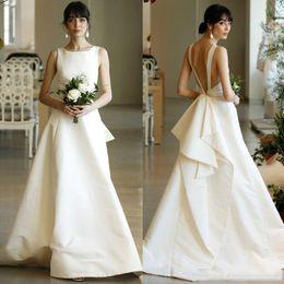 Vestido de noiva de seda simples on-line-Custom Made 2019 Plus Size Branco Marfim Barato Vestidos de Noiva Simples Vestido De Noiva De Cetim De Seda Ruched Sem Encosto A-line Princesa Vestidos De Novia