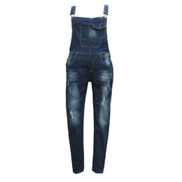 frauen denim overalls spielanzug Rabatt Frauen-Weinlese-Holes Blau Jumpsuits Straps Einfache dünne Denim-Jeans-Spielanzug-Frauen Denim-Overall weiblich Sommer Jumpsuits