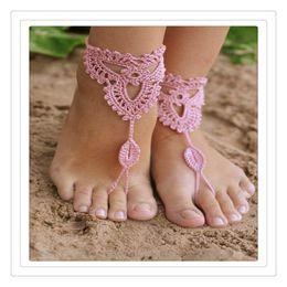 Joyas de ganchillo online-Becch Wedding Jewelry Crochet Wedding Sandalias descalzas Piscina de playa Zapatos desnudos Cadenas de yoga Tobilleras de pie Zapatos de encaje nupcial Tobillera sexy