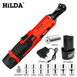 ratchet tool kit Coupons - HILDA 12V Electric Wrench Kit Cordless Ratchet Wrench Rechargeable Scaffolding Torque Ratchet With Sockets Tools Power Tools
