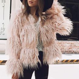 giacca pelosa faux Sconti Naiveroo Womens Faux Fur Coat Fluffy Warm Manica lunga senza collo Collarless Autumn Winter Jacket Hairy Overcoat Parka Capispalla