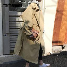 Cintura russa online-Russian Style Loose Women grandi dimensioni Autunno Inverno Mid-lungo Trench con cintura Mantello cappotti Windbreaker Abrigos