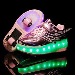 2019 zapatos de led rosa niños USB nuevo oro rosa de carga muchachas de la manera muchachos de luz LED zapatos del patín de ruedas para los niños zapatillas de deporte para niños con ruedas Dos ruedas T191001 zapatos de led rosa niños baratos