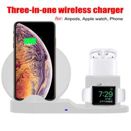iphone qi dock Rebajas Cargador inalámbrico 3 en 1 para iPhone 8 Plus X XS Max XR Estación de carga inalámbrica Cargador inalámbrico QI para Apple AirPods Apple Watch 2 3 4
