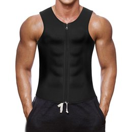 2019 bel seno nera Men Sweat Waist Trainer Canotta Vest Perdita di peso Neoprene Workout Camicia Sauna Vest Hot Sweat Body Shaper Tummy Fat Burning