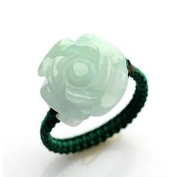 Wholesale merveilleuse voiture Jade Sculptures Roses Jade Cercles Authentique Jade Main Anneaux Des Femmes