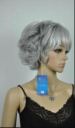 Kurze, lockige graue perücke online-Perücke New Grey Mix Short Curly Full Cosplay Perücke