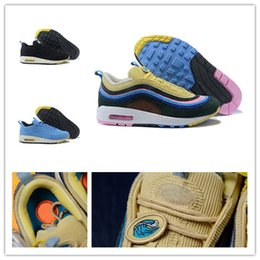 2018 Hot 97 Sean Wotherspoon X Men Women Running Shoes Mens 97s 97 Vivid  Sulfur Multi Yellow Blue Hybrid Sports Sneakers 36-45 94fd8963e