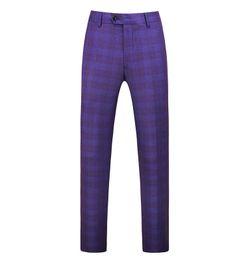 Escritório de calças roxas on-line-Gwenhwyfar roxo da manta Homens terninho Primavera roupa masculina Calças escritório de negócio resistente Tamanho Big clássico calças masculinas