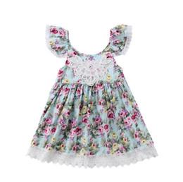Summer filles dos nu robes avec dentelle garniture gros bébé vêtements peu floral impression flutter manche spaghetti sangle robe BY0956 ? partir de fabricateur