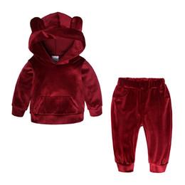 Ropa de niño talla 3t online-Baby Boys Girls Fleece Clothes 2018 Niños Suéter con capucha y pantalones Niños Conjuntos de ropa de otoño para tamaño 80-140cm