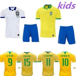 1e6d3af31b7 2019 Brasil home kids kit Jersey DAVID LUIZ G.JESUS P.COUTINHO MARCELO  RONALDINHO DAVID LUIZ Soccer Jersey 2020 Brazil Football Jersey discount  soccer ...