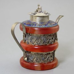 Ornamentos em metal velhos on-line-Dragão Vaso De Vinho Antigo Antigo Artesanato Coleção Ornamento Do Jardim Decoração Retro Tibet Prata Red Jade Carving Duplo 53yx F1