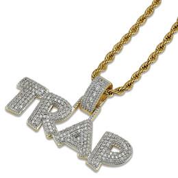 Iniziali di diamanti online-Topfashionqueen Prezzo di fabbrica Collana Hip Hop Ciondolo Collana oro argento Lab Diamante Iced Out catena TRAP gioielli partito iniziale Dropshipping
