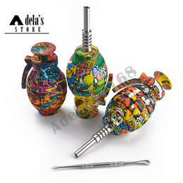 Decalcomanie in acciaio inossidabile online-Sticker silicone Grenade Nectar Collector kit con 14 millimetri comune punta in acciaio inossidabile + Dabber color tabacco Tubature dell'acqua NC Multi Color 691