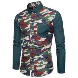 camisa de vestir de manga larga de camuflaje Rebajas Nueva camisa de moda Camo vestido de hombre camisas Slim Turn-Down hombres de manga larga para hombre camisas tamaño M-3XL