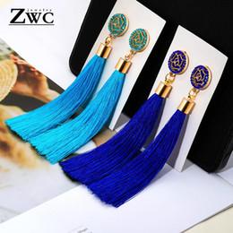 Красные свадебные украшения онлайн-ZWC New Fashion  Crystal Tassel Earrings for Women Girl Wedding Party Charm Elegant Red Long Earring Jewelry Gift