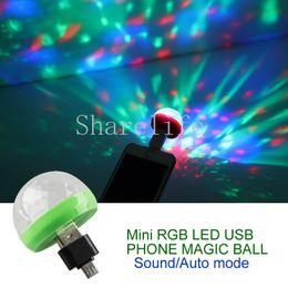 Teléfonos móviles de sonido mágico online-Mini 4W RGB LED USB Sonido del teléfono Auto Magic Ball Light para Android Teléfono móvil de Apple Al aire libre Interior DJ Party Home Stage Lighing