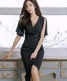 2019 сексуальные корейские бедра 2019 лето корейской версии офис леди с воротником сексуальная сумка хип-темперамент платье скидка сексуальные корейские бедра