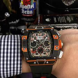 casaco de filme Desconto Os relógios dos homens da série RM011 mecanicamente inteiramente automatizado Moement Size 40x50x16mm Espelho revestido filme-revestido oco Watch Disk Rubber Strap / Nylon Strap