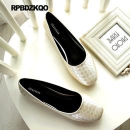2020 zapatos chinos de gran tamaño Blanco Ancianos tejidos suaves pisos de ballet mujeres 10 diseñador zapatos chinos más tamaño Plaid Large Square Toe Green 11 2019 bailarina rebajas zapatos chinos de gran tamaño