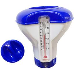 pool de termômetro Desconto Distribuidor de flutuação das abas do cloro e do bromo da cidade da fonte da associação com acessórios 2019 do termômetro