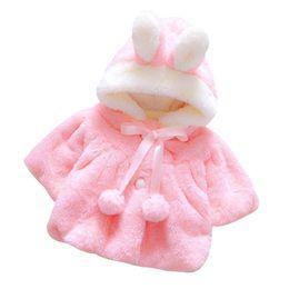 Herbst mädchen rosa jacke online-Neugeborenes Baby Herbst-Winter-Mantel mit Kapuze Mantel-Jacke starke warme Kleidung (pink)