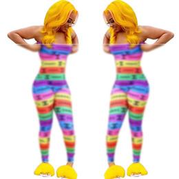 Monos de verano online-Diseñador de las mujeres CHAN Carta de Mono de Verano Marca Rayas Multicoloras Mamelucos de Lujo de la Liga Jumpsuits Outfit Party Beach Ropa C61403