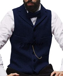 terno estilo britânico do vintage Desconto Colete De Lã Royal Blue Vintage Herringbone Coletes Estilo Britânico Terno Dos Homens Coletes Slim Fit Mens Vest Colete De Casamento Colete Custom Made