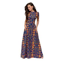 vestidos festa moda curto Desconto Vestido de verão nova moda impressão o -Neck manga curta Vestidos mulheres elegante vestidos longos Bohemian Vestidos De Fiesta