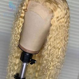 613 lockige spitzenperücken Rabatt Brasilianische gelockte volle Spitze-Menschenhaar-Perücke 613 Blonde 150 Dichte Remy tiefer Teil voller Spitze-Perücke PrePlucked mit dem Babyhaar für Frauen
