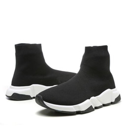 flat shoes socks Coupons - With Box 2019 Speed Runner Shoes Sock Designer Shoes Triple Black Oreo Red Flat Trainer Men Women Shoes US4.5- US11.5