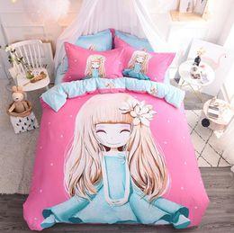 Prinzessin bettwäsche gesetzt voll online-Bettwäsche-Sets Princess Pink Cover Set Bettlaken + Steppdecke + Kissenbezug Full King Queen Twin Kinder Größe Bettwäsche Set Kinderzimmer Bettwäsche