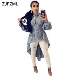 039189f2cc614 2019 robe mi-longue taille taille midi ZJFZML Plus Taille À Rayures Chemise Dress  Femmes