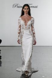 vestidos de novia pnina tornai Rebajas 2019 nuevos vestidos de novia de sirena Pnina Tornai con cuello en V vestidos de novia de encaje más tamaño vestido de novia de manga larga personalizado AY114