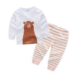 Terno marrom criança on-line-desgaste Boa qualidade mais recente infantil do bebê Crianças Casual bonito impressão animal marrom longo crianças manga roupas terno meninas roupas princesa