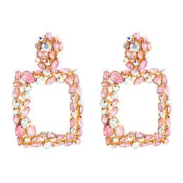 pendientes de los estados de color rosa para las mujeres grandes de cristal cuadrada grandes pendientes de diamantes de imitación 2019 gota earing joyería de moda de lujo geométrica desde fabricantes