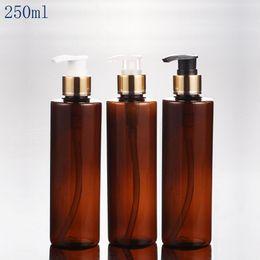 2019 botellas de champú de plástico marrón 30 unids 250 ml marrón forma redonda de lujo bomba de loción de plástico botella de PET para el envasado de cosméticos, 250cc champú loción contenedor de bomba botellas de champú de plástico marrón baratos
