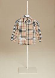 Ragazzi plaid shirt designer di stile bambini risvolto camicia a maniche lunghe per bambini in cotone casual top marca ragazzi abbigliamento kaki rosso blu A01141 da bei modelli neri fornitori