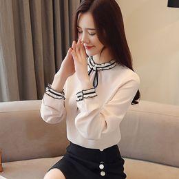 61b86e5da8946 Korean Style Women Shirts Women Tops Plus Size Roupas Mujer Long Sleeve  Office Lady Chiffon Blouse Bow Collar Blusa Feminina discount women s  collared bow ...